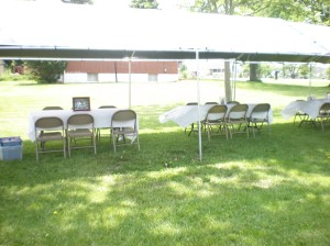 Outdoor setting for my son's graduation party